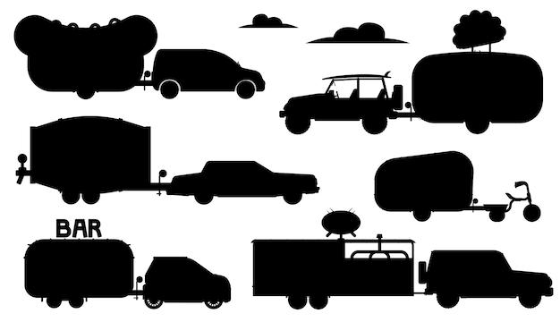 Sagoma di camion di cibo. set ristorante mobile per roulotte. barra isolata, caffetteria, caffetteria sulla collezione di icone piatte ruote. trasporto di camion con rimorchio, servizio di trasporto di cibi e bevande