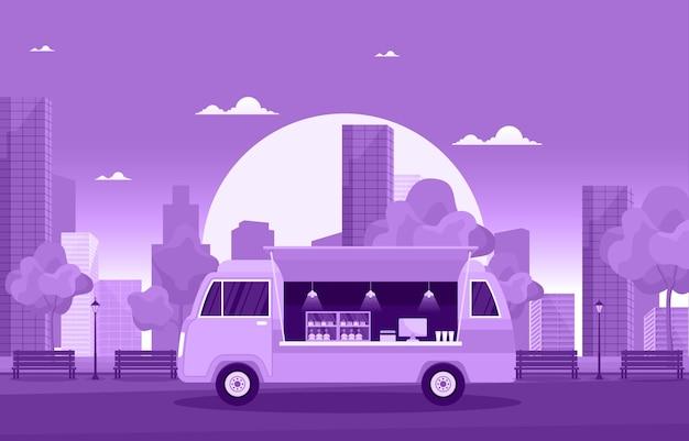 Illustrazione della città del negozio di strada del veicolo dell'automobile del furgone del camion dell'alimento