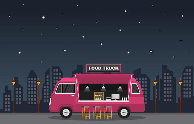 Illustrazione di notte del negozio di strada del veicolo dell'automobile del furgone del camion dell'alimento