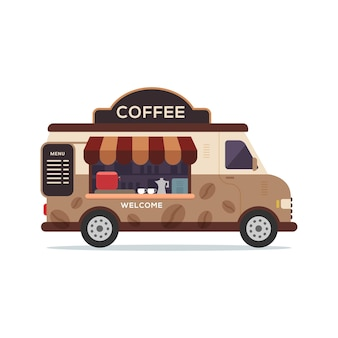 Illustrazione della caffetteria del veicolo del camion di cibo