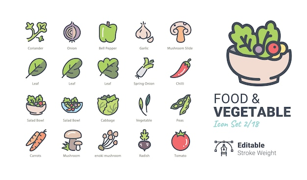 Icone di vettore di cibo e verdure