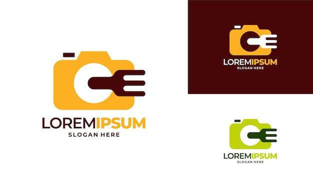 Il logo di food vlog progetta il vettore di concetto, l'illustrazione del modello di logo di food photography