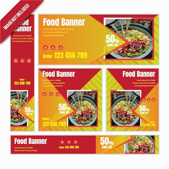 Set di banner web cibo per ristorante con sconto.
