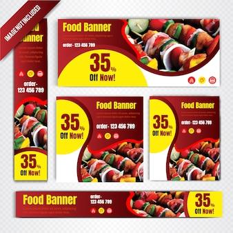 Set di banner web cibo per ristorante