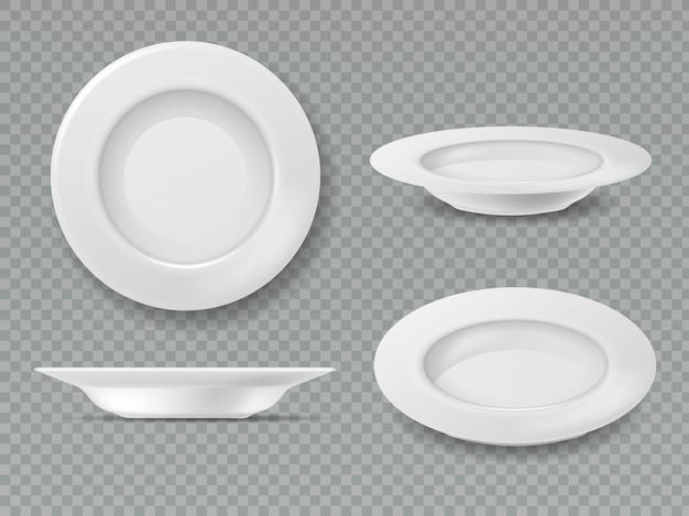 Piatto bianco alimentare. insieme isolato porcellana di cottura ceramica della prima colazione della cucina di vista laterale della ciotola del piatto di vista superiore del piatto vuoto