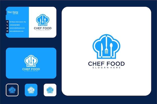 Cibo con design del logo del cappello da chef e biglietto da visita