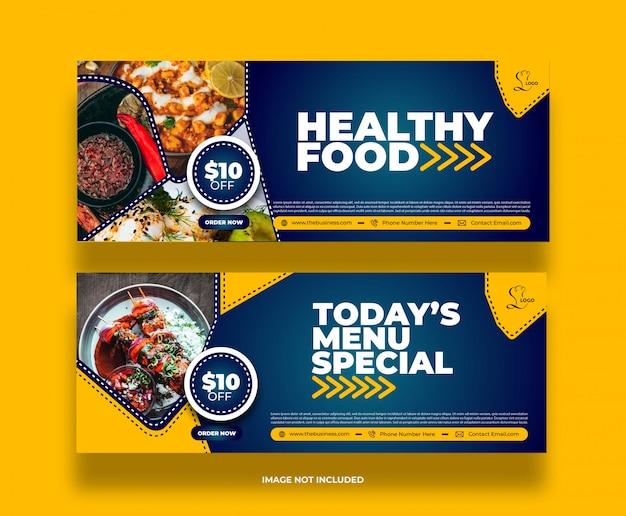 Banner di promozione post sui social media di cibo delizioso ristorante