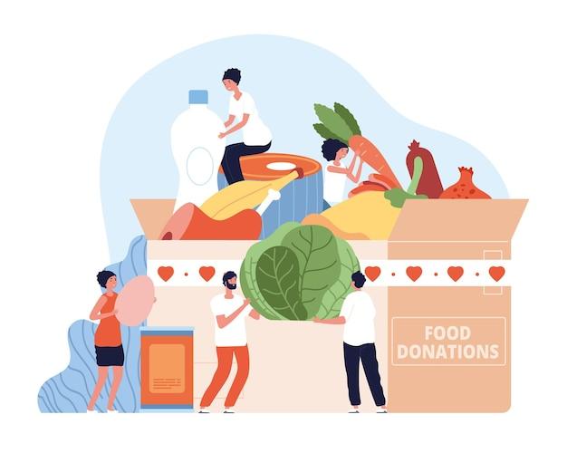 I cibi donano. donazione di unità alimentari per le vacanze, beneficenza natalizia. i volontari raccolgono l'aiuto della scatola di cartone con il concetto di vettore di lattine e generi alimentari. scatola di beneficenza illustrazione, donazione in cartone