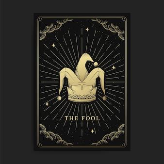 Il matto o il cappello da clown. tarocchi magici occulti, lettore di tarocchi spirituale boho esoterico, astrologia di carte magiche, disegno di poster spirituali.