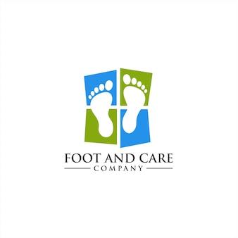 Concetto di logo di cura della caviglia e del piede