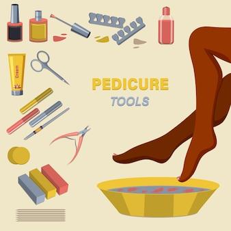 Kit bellezza piedi. applicazione di pedicure e smalto da donna.