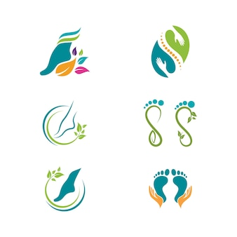 Progettazione dell'illustrazione dell'icona di vettore del modello di logo di cura del piede