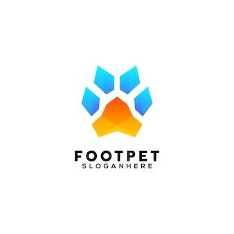 Modello di progettazione del logo colorato dell'animale domestico del piede