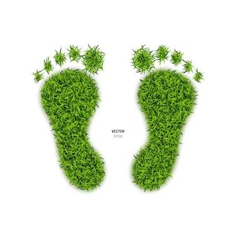 Stampa del piede fatta di erba verde. illustrazione
