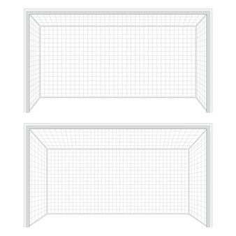 Illustrazione del cancello di footbal su priorità bassa bianca