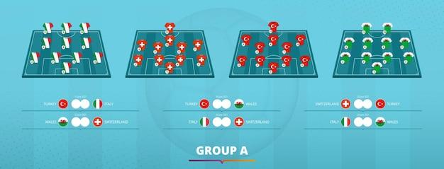 Formazione della squadra di calcio 2020 del gruppo ð¡. formazione a squadre e giochi di gruppo dei partecipanti alla competizione calcistica europea. modello di vettore.