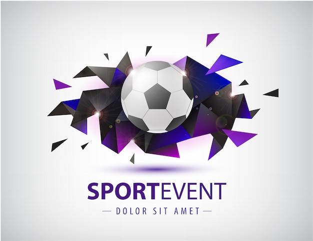 Modello astratto di calcio per copertine di calcio, striscioni, cartelli sportivi, poster e volantini con palla. forma geometrica sfaccettata isolata.