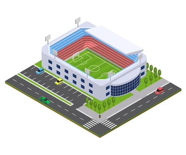 Vista isometrica dell'arena di calcio paesaggio urbano per mappa, web, app e gioco