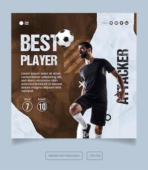 Modello di post sui social media del volantino dell'atleta di calcio