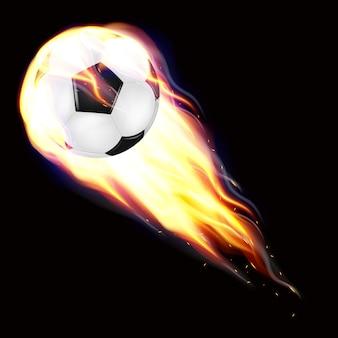 Pallone da calcio che vola in fiamme