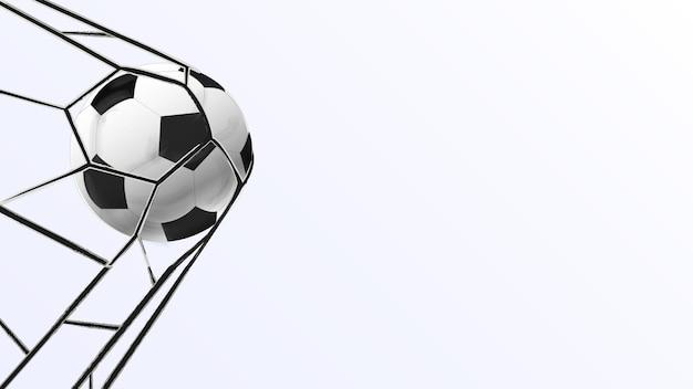 Pallone da calcio che segna attività sportiva la palla è in porta modello vettoriale