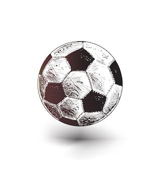 Schizzo di pallone da calcio in stile piatto alla moda isolato su sfondo bianco
