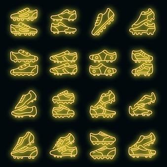 Scarpe da calcio set di icone vettoriali neon