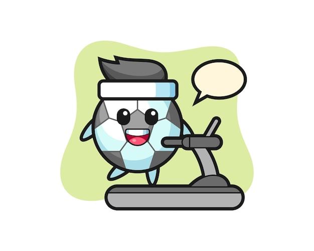 Personaggio dei cartoni animati di calcio che cammina sul tapis roulant, design in stile carino per maglietta, adesivo, elemento logo Vettore Premium