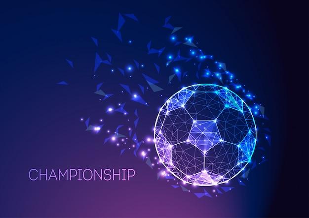 Concetto di campionato di calcio con pallone da calcio futuristico sul gradiente viola blu scuro.