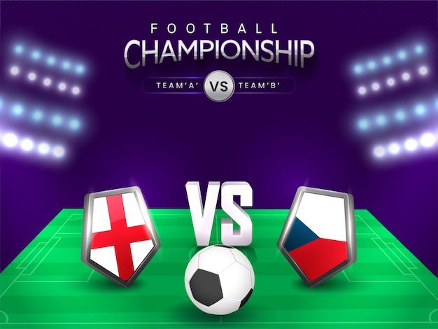 Concetto di campionato di calcio con lo scudo di bandiera squadre partecipanti dell'inghilterra vs ceco sulla vista dello stadio.