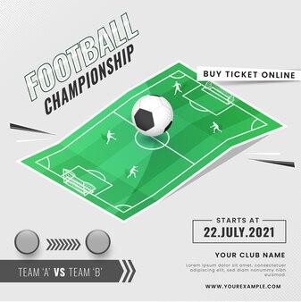 Concetto di campionato di calcio con due squadre partecipanti che giocano sul campo da giuoco o allo stadio.