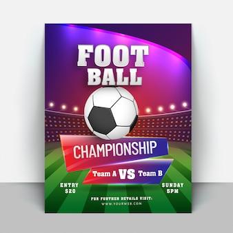 Volantino campionato di calcio o banner design Vettore Premium