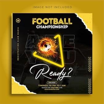 Poster del campionato di calcio e modello di progettazione banner