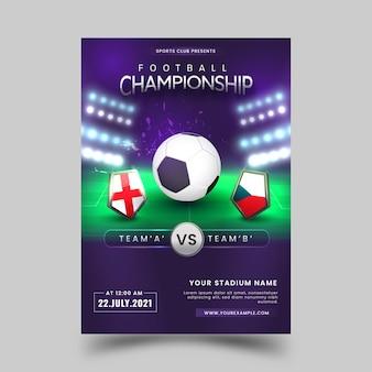 Disegno del manifesto del campionato di calcio con la squadra di partecipazione dello scudo nazionale