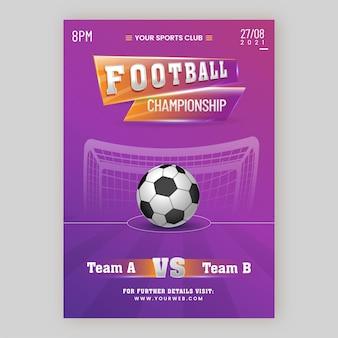 Design del poster del campionato di calcio con pallone da calcio realistico