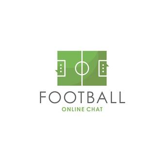 Modello di logo di chat di calcio Vettore Premium