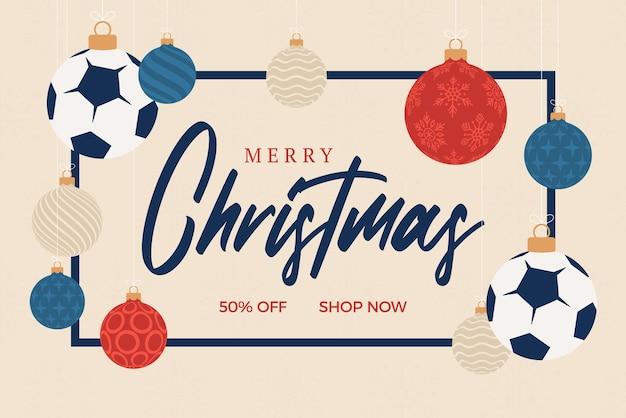 Cartolina d'auguri di natale di calcio. buon natale e felice anno nuovo fumetto piatto sport banner. pallone da calcio come una palla di natale sullo sfondo. illustrazione vettoriale.