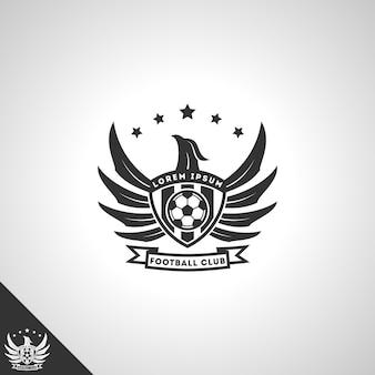 Concetto di logo del club di calcio con potente stile aquila