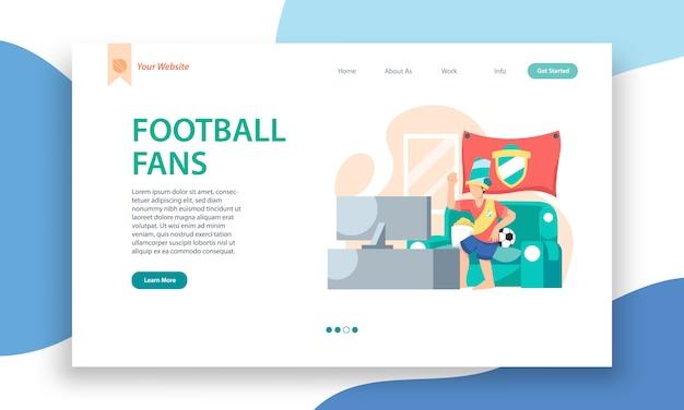 Modello di sito web per gli appassionati di calcio, design della pagina di destinazione per lo sviluppo di siti web e siti mobili.