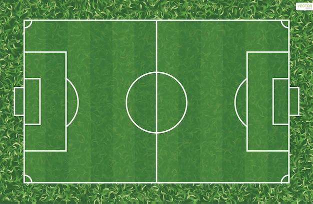 Fondo del campo di calcio o del campo di calcio. campo in erba verde per creare una partita di calcio. illustrazione vettoriale.