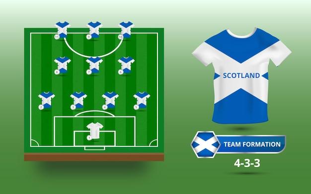 Campo da calcio con illustrazione della formazione della squadra