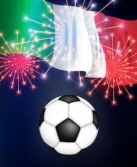 Partita di calcio campionato italia con bandiera