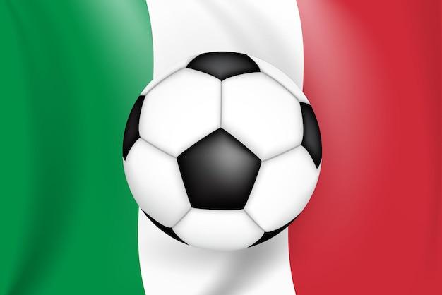 Campionato di partita di calcio con l'italia con bandiera