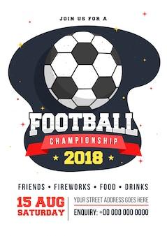 Volantino di gioco di calcio o design di poster.