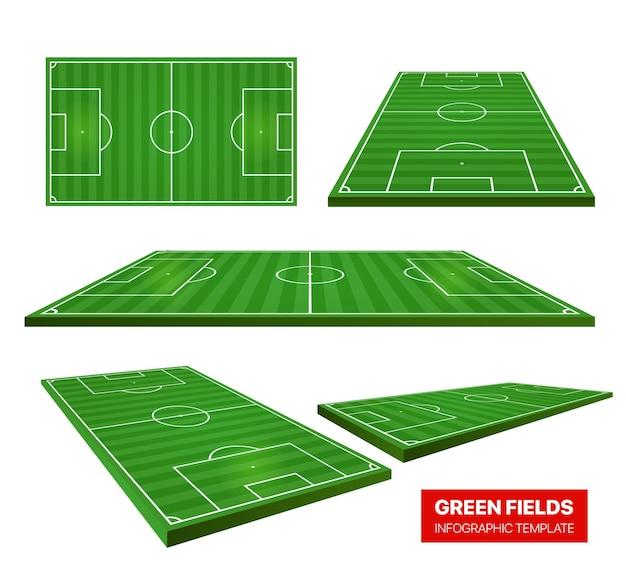 Accumulazione dei campi verdi di calcio isolata su bianco