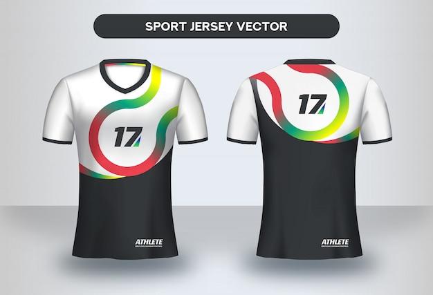 Modello struttura football jersey. design aziendale, t-shirt uniforme da club di calcio vista anteriore e posteriore.
