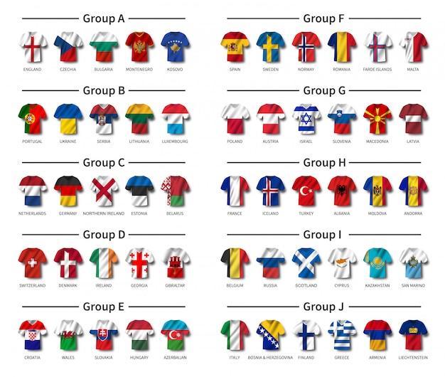 Maglia da calcio con set bandiera sventolante paese