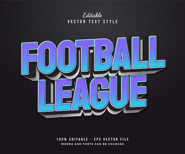 Stile di testo della lega di calcio in sfumatura blu con effetto in rilievo