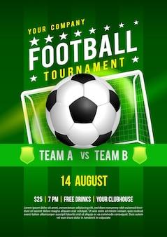 Disegno del manifesto del torneo di campionato di calcio