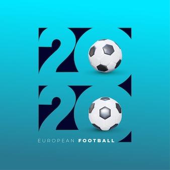 Logo del calcio 2020. grafica realistica del pallone da calcio. progetta un gradiente di sfondo elegante